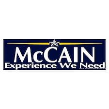 McCain, Experience We Need Bumper Bumper Sticker