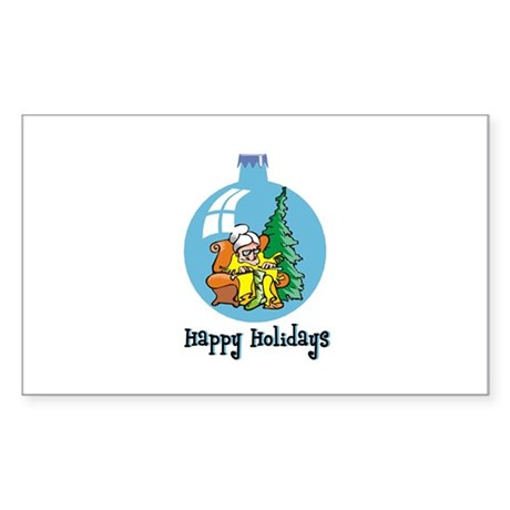 Stocking Knitter - Happy Holi Rectangle Sticker