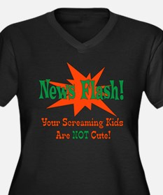 Screaming Kids NOT Cute Women's Plus Size V-Neck D