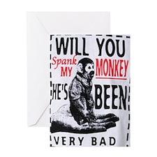 Spank my monkey Greeting Card