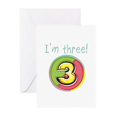I'm Three Greeting Card