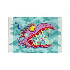 Purple Piranha Rectangle Magnet