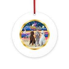 Xmas Star/ Three Poodles (ST) Ornament (Round)