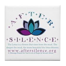 After Silence Lotus Design Tile Coaster