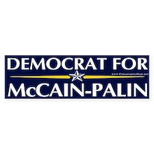 Democrat for McCain-Palin Bumper Bumper Sticker