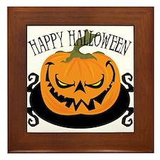 Scary Pumpkin Framed Tile