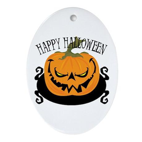 Scary Pumpkin Oval Ornament