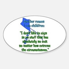Child-Free Reason Oval Decal