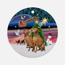 XmasMagic / Two Vizslas Ornament (Round)