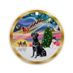 XmasMagic/ Black Labrador Ornament (Round)