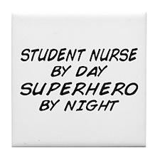 Student Nurse Superhero by Night Tile Coaster