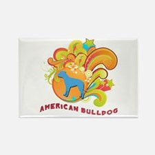 Groovy American Bulldog Rectangle Magnet