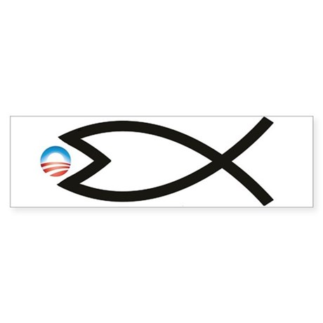 Jesus Fish Eats Obamessiah Bumper Sticker