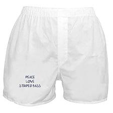 Peace, Love, Striped Bass Boxer Shorts