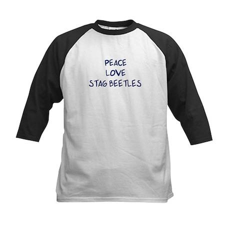 Peace, Love, Stag Beetles Kids Baseball Jersey