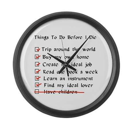 Child-Free Checklist Large Wall Clock