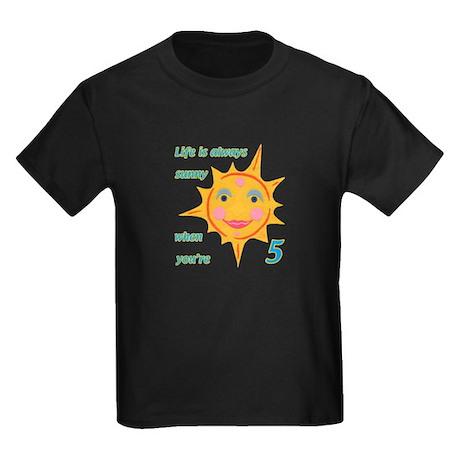 Happy Sun 5th Birthday Kids Dark T-Shirt