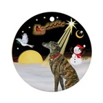 NightFlight/Brindle Greyhound Ornament (Round)