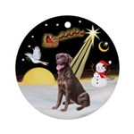 NightFlight/ Chocolate Labrador Ornament (Round)
