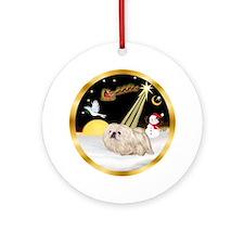 NightFlight/White Pekingese Ornament (Round)