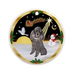 NightFlight/Silver Poodle Ornament (Round)