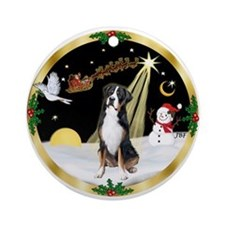 NightFlight/ Greater Swiss Mt Dog Ornament (Round)