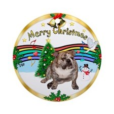 XmasMusic1MC/ English Bulldog Ornament (Round)