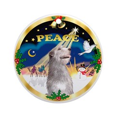 XmasSunrise/ Irish Wolfhound Ornament (Round)
