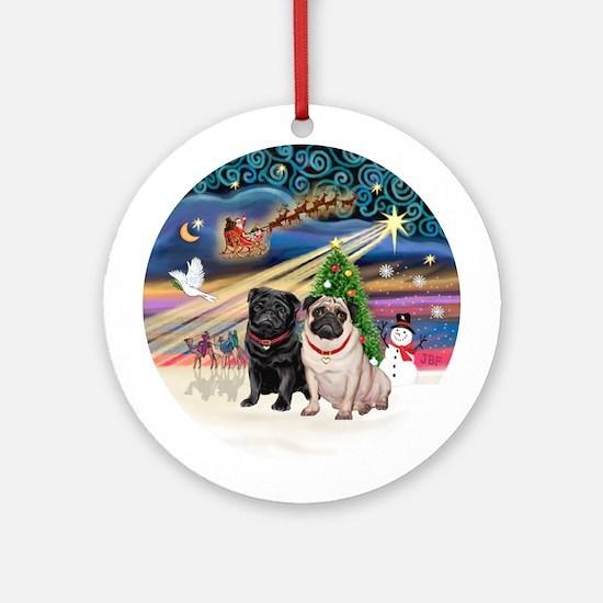 Xmas Magic - Black Pug + Fawn Pug Ornament (Round)