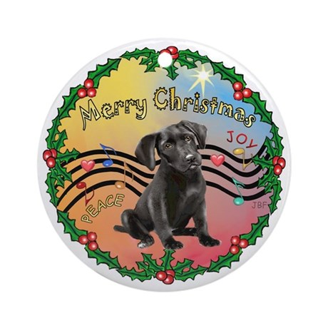 XmasMusic2MC/ Black Labrador pup Ornament (Round)