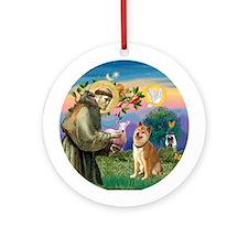 St Francis/ Shiba Inu Ornament (Round)