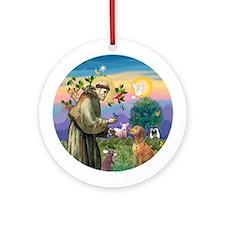 St Francis/ Vizsla Ornament (Round)