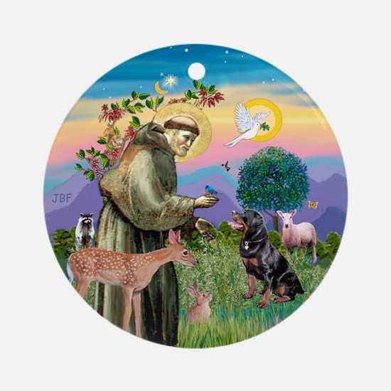 St Francis/ Rottie #6 Ornament (Round)