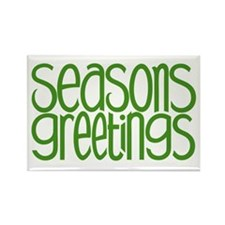 Seasons Greetings Green Rectangle Magnet (100 pack