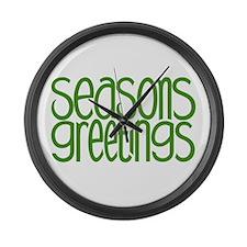 Seasons Greetings Green Large Wall Clock