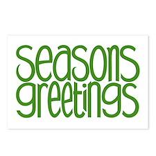 Seasons Greetings Green Postcards (Package of 8)