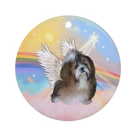 Clouds/ Shih Tzu #8 Angel Ornament (Round)