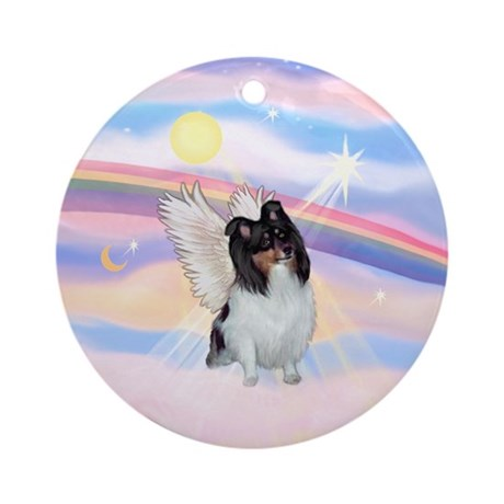 Clouds/ Sheltie-Tri Angel Ornament (Round)