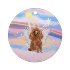 Clouds/ Poodle-apricot Angel Ornament (Round)