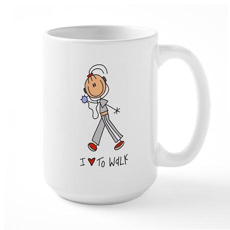 I Love to Walk! Lefty Large Mug