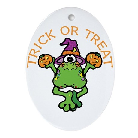 Trick or Treat Frog Oval Ornament