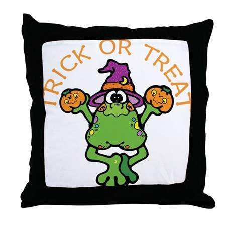 Trick or Treat Frog Throw Pillow