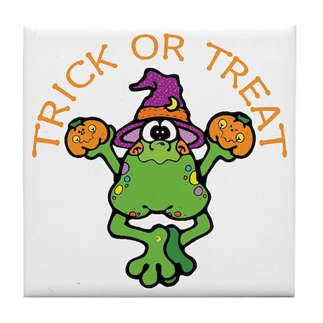 Trick or Treat Frog Tile Coaster