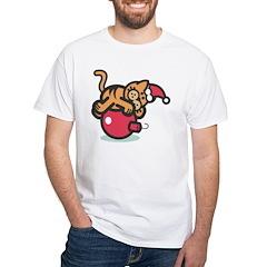 Cartoon Christmas cat on ornament T-shirt!