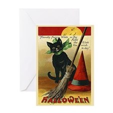 Halloween Black Cat, Broom and Hat Greeting Card