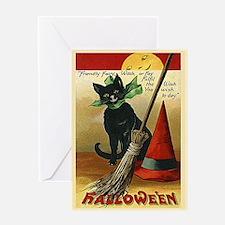 Halloween Black Cat, Broom and Hat Greeting Card