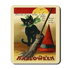 Halloween Black Cat, Broom and Hat Mousepad