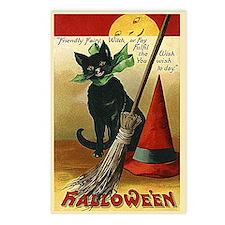 Halloween Black Cat, Broom and Hat Postcards (Pack