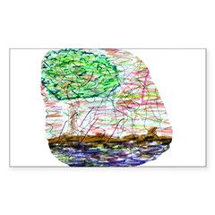 Landscape Drawing Rectangle Sticker 10 pk)