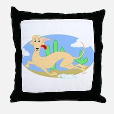 Running Greyhound Desert Throw Pillow
